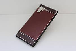 Чехол Litchi для Samsung Galaxy Note 10 Plus (N975) силикон бампер с рифленой текстурой темно-коричневый