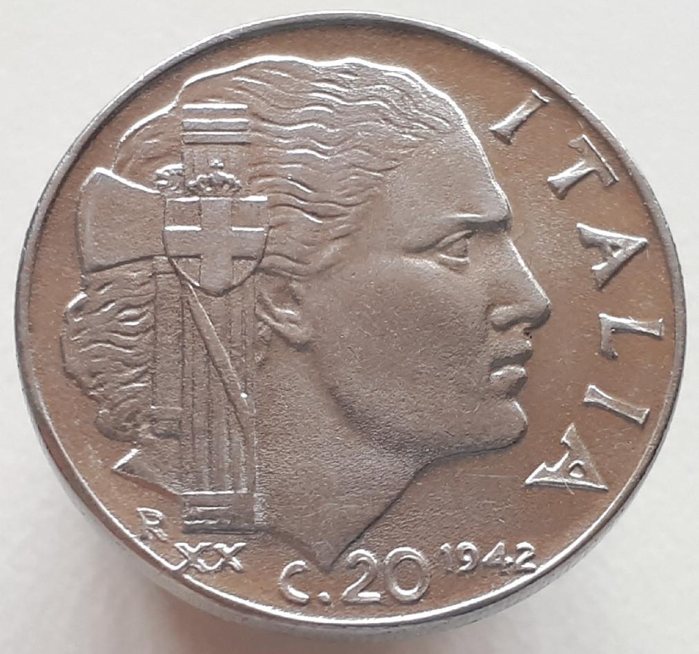 Италия 20 чентезимо 1942 ( Магнитная)