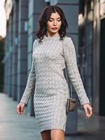 Теплое вязаное платье р 44-54 серый, фото 1