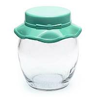 Банка стеклянная Everglass 395 мл. для хранения с зеленой пластиковой крышкой Шляпка