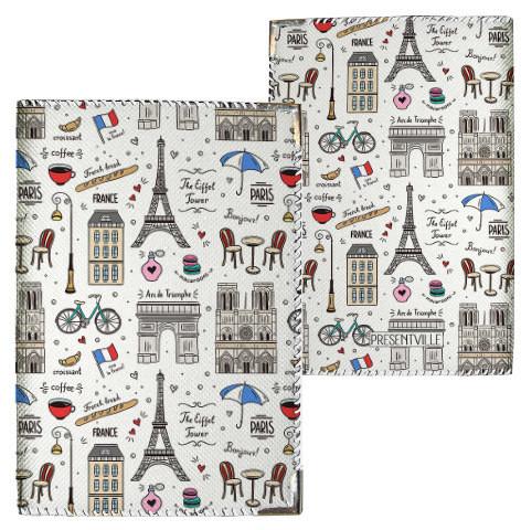 Обложка на паспорт Париж, Франция, белый фон (PD_ILI016_WH)