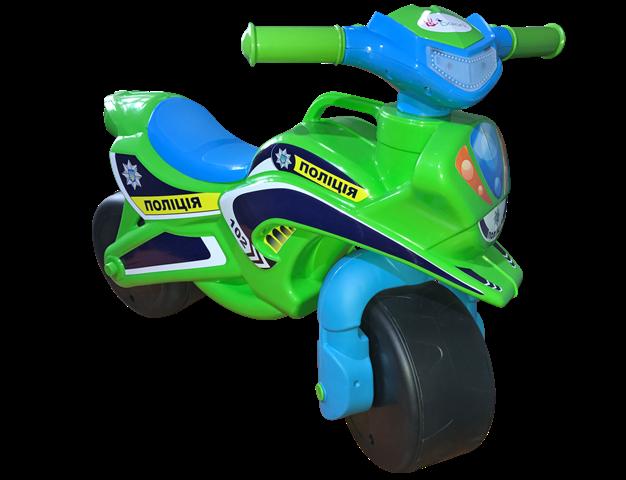 Детский двухколесный мотоцикл толокар музыкальный со светом Долони Doloni 0139/52 зеленый с голубым