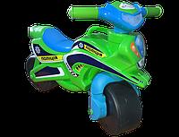 Детский двухколесный мотоцикл толокар музыкальный со светом Долони Doloni 0139/52 зеленый с голубым, фото 1