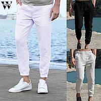 Льняные летние легкие брюки под спорт на резинках внизу . Цвет на выбор. Высокий рост, фото 1