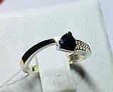 Кільце в сріблі з золотом і чорним фианитом Шеріл, фото 2