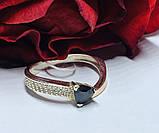 Кільце в сріблі з золотом і чорним фианитом Шеріл, фото 3
