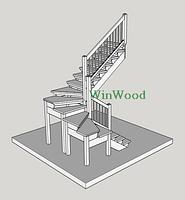 """Деревянная лестница для дома из дерева Дуб, белая """"U""""-образная без площадки"""