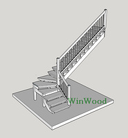 """Изготовление деревянных лестниц из Дуба """"L""""-образная без площадки"""