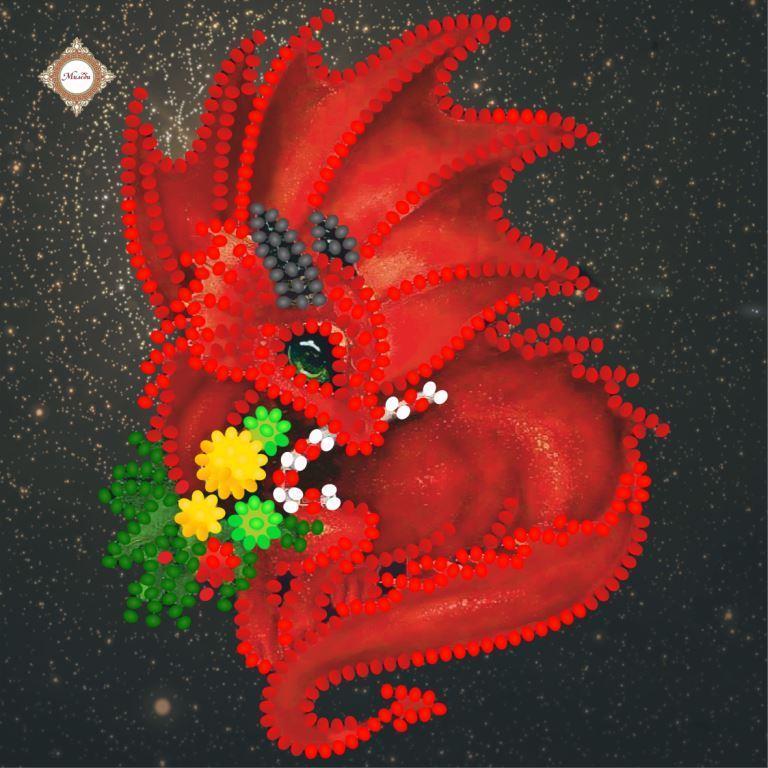 СЛМ-028 Рождественский Драго. ТМ Миледи. Схема-миниатюра для вышивки бисером
