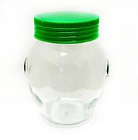 Банка стеклянная Everglass 395 мл для хранения с зеленой пластиковой крышкой (Италия)