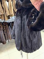Норковый полушубок с капюшоном коричневый 48 50, фото 1