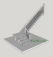 """Лестница на заказ деревянная из Дуба """"L""""-образная с площадкой"""