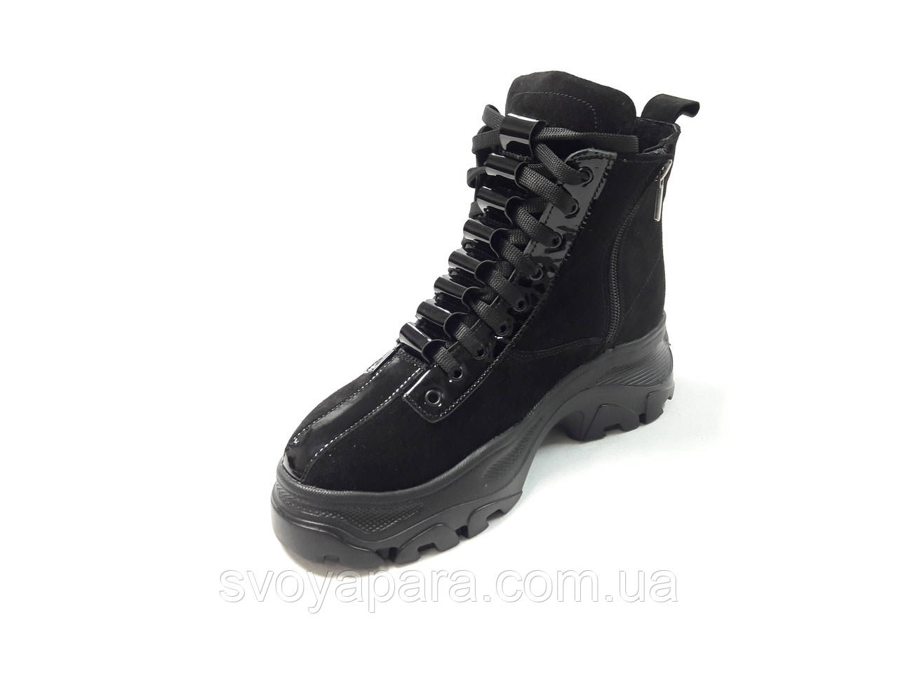 Женские зимние ботинки черные замшевые (0157)