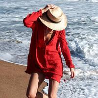 Женская пляжная хлопковая туника-рубашка красного цвета, фото 1