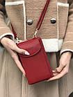 Сумка-клатч красная на ремешке с карманом для телефона, фото 7