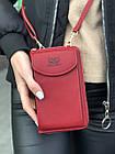 Сумка-клатч красная на ремешке с карманом для телефона, фото 6