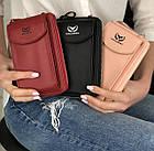 Сумка-клатч красная на ремешке с карманом для телефона, фото 5