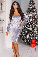 Платье женское велюр + перья на рукавах серебро