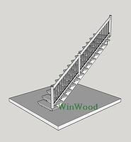 Межэтажная лестница из дерева дуба (Белая), прямая
