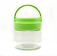 Банка стеклянная Everglass 330 мл.для хранения зеленой с пластиковой  крышкой и ручкой