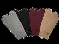 Перчатки женские трикотаж украшены мехом КОРОЛЕВА, фото 1