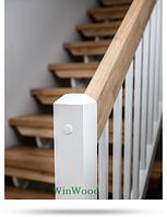 """Деревянная лестница на второй этаж """"L""""-образная без площадки, """"гусиный шаг"""""""
