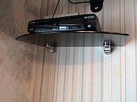 Полиця скляна під тюнер чорна 5 мм 35 х 22 см (уцінка), фото 1