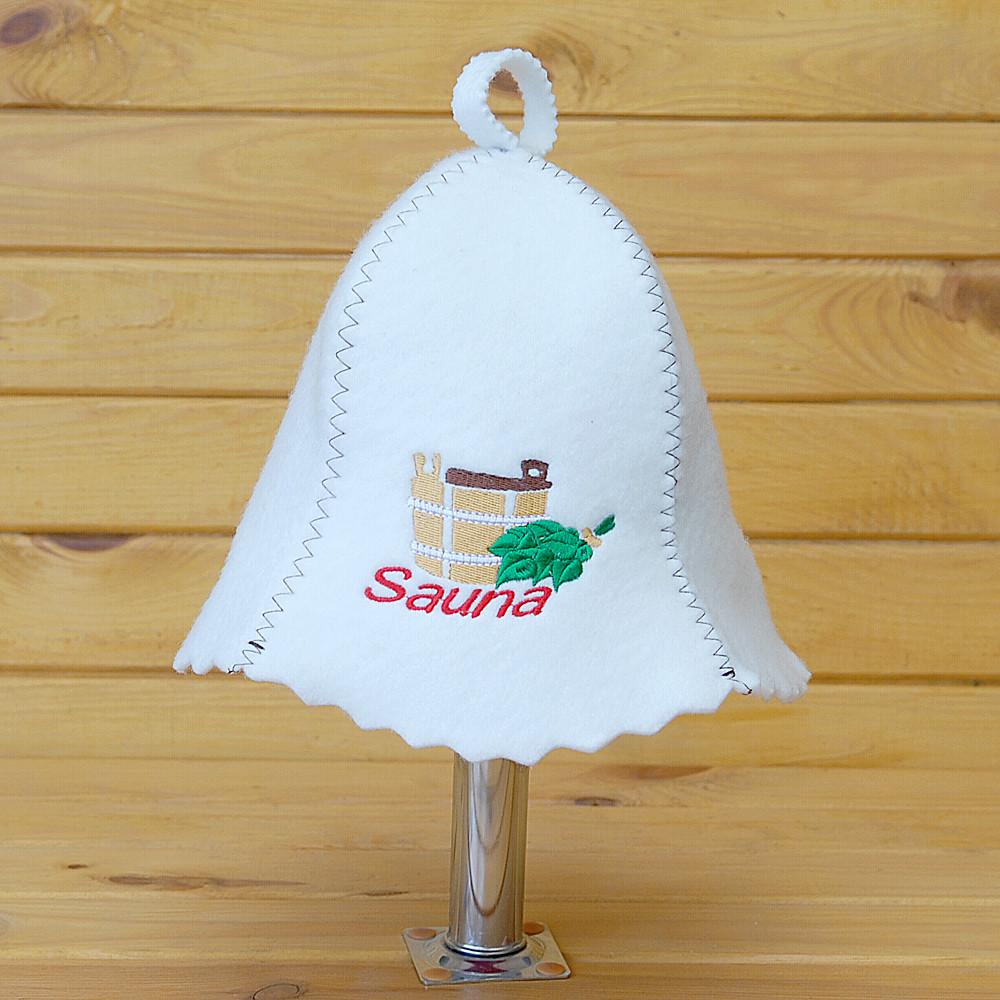 """Шапка для бани и сауны V3 """"Sauna кадушка с веником"""""""