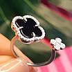 Серебряное родированное кольцо с Клевером - Брендовое кольцо Клевер серебро с ониксом, фото 6