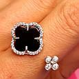 Серебряное родированное кольцо с Клевером - Брендовое кольцо Клевер серебро с ониксом, фото 4
