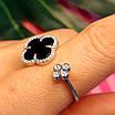 Серебряное родированное кольцо с Клевером - Брендовое кольцо Клевер серебро с ониксом, фото 3
