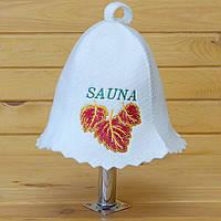 """Шапка для лазні та сауни V3 """"Sauna березовий лист жовто-червоний"""""""
