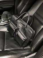Деловая сумка из натуральной кожи. Кожаный портфель. Черный цвет. Для документов и ноутбука