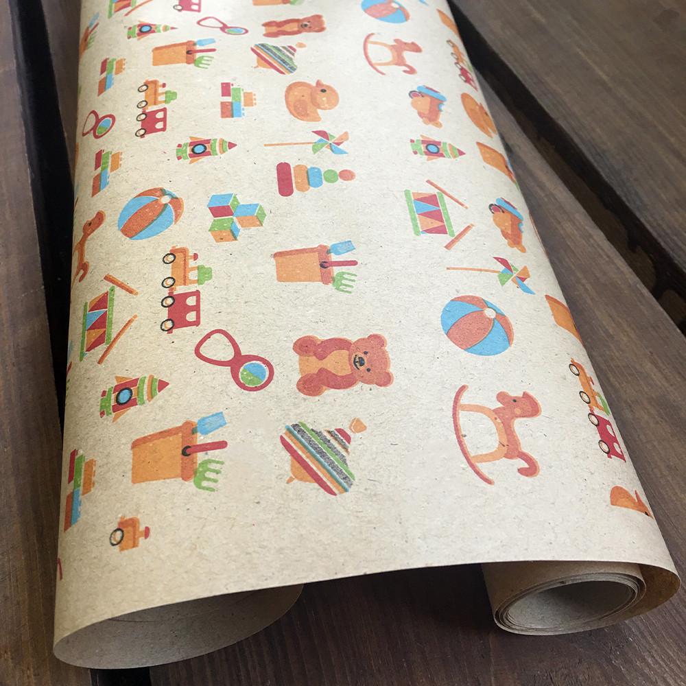 """Крафт бумага подарочная """"Игрушки"""", 0.7 х 1 метр. 70 грамм/м². LOVE & home"""
