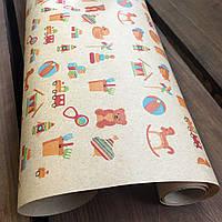 "Крафт бумага подарочная ""Игрушки"", 0.7 х 1 метр. 70 грамм/м². LOVE & home, фото 1"
