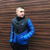 Куртка зимняя теплая мужская качественная черно-синяя Transformer