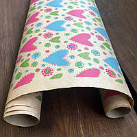 """Крафт бумага подарочная """"Цветные сердечки"""", 0.7 х 1 метр. 70 грамм/м². LOVE & home"""