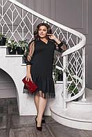 Платье  БАТАЛ нарядное вставка сетка 661468