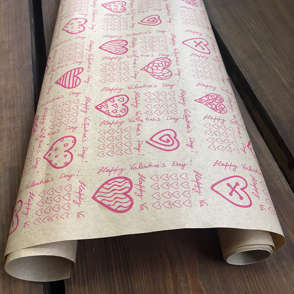 "Крафт папір подарункова ""День валентина"", 0.7 х 10 метрів. 70 г/м2. LOVE & home"