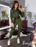 Женский комплект бомбер и брюки карго с ремешками и фастексом 6610190E