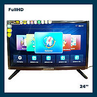 Телевизор Samsung Smart TV Android 24 дюйма  +Т2 FULL HD 12/220v USB/HDMI LED ( Андроид Самсунг смарт тв)