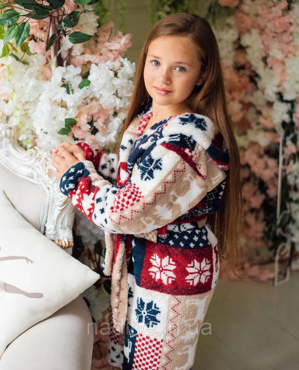 Махровый халат Eirena Nadine (34-556 Норвежский узор) рост 134 с капюшоном