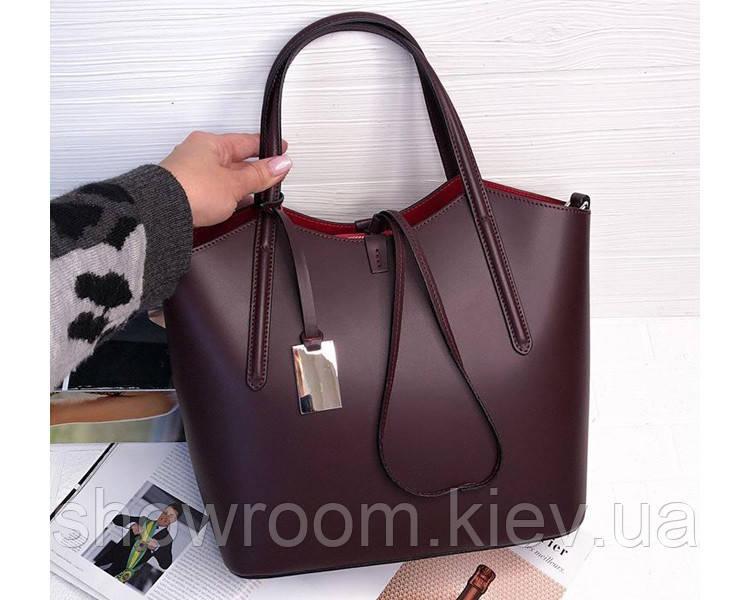 Итальянская женская сумка Laura Biaggi (421) кожаная цвета марсала