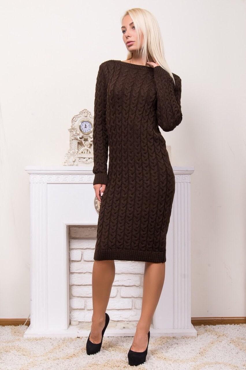 Стильне в'язане плаття р 44-54 коричневий