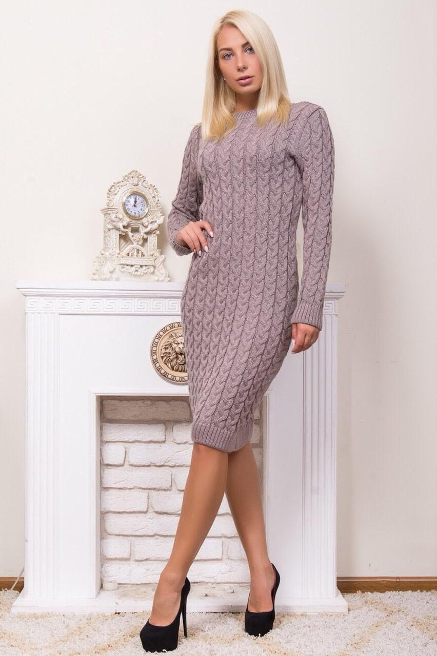 Стильное вязаное платье р 44-54 пудра