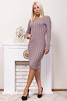 Стильное вязаное платье р 44-54 пудра, фото 1