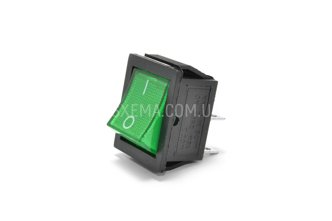 Выключатель клавишный IRS-201-1C зеленый 4 pin