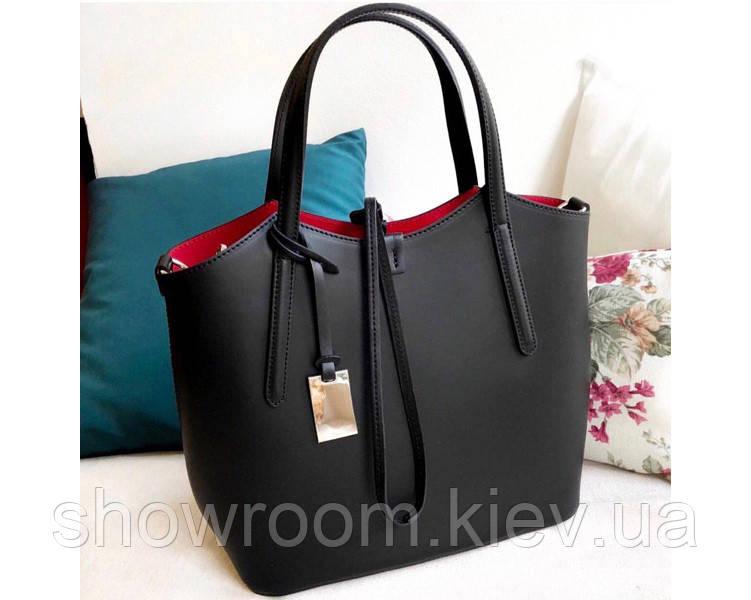Итальянская женская сумка Laura Biaggi (421) кожаная черная