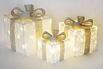 Набор декоративных подарков (3шт) с подсветкой, 15см, 20см, 25см