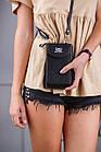 Чорне портмоне на орендованому ремінці, фото 3